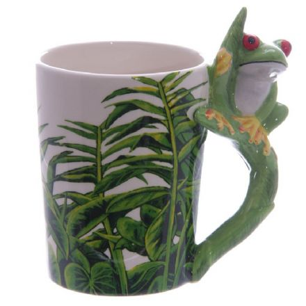 Tree Frog Shaped Handle Mug with Foliage Decal